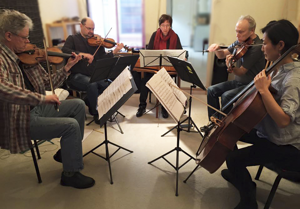 Kronos Quartet and Ritva Koistinen, kantele, in rehearsal of All Those Strings!
